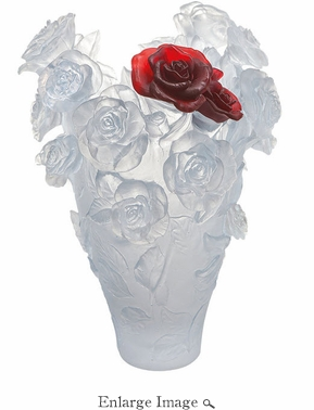 Daum Crystal White and Red Bouquet Magnum - Limited edition of 50 pieces