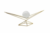 Decorative Glass Orb On Stand Gold