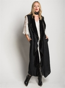 Muche et Muchette Diago Sleeveless Long Vest- Black
