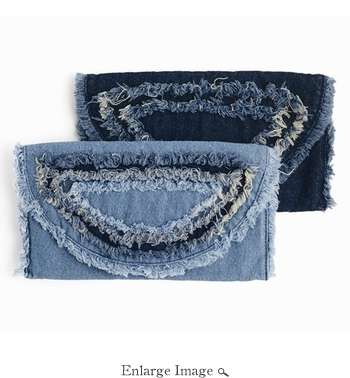 Distressed Denim Clutch Bag Light Denim