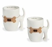 Dog Tail Mugs, Set of 2