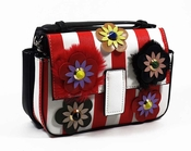 Inzi Fenda Designer Bag: Double Baguette Micro Bag - Red & White  - CLOSEOUT
