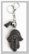 Evil Eye Hamsa Key Chain & Bag Charm - Silver