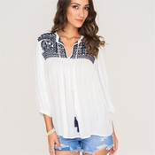 White Top with Navy Embroidery - One Size Fits Most