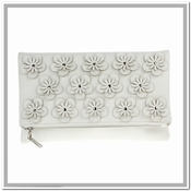 Flowers Convertible Clutch White - CLOSEOUT