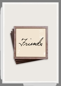 Friends Script Copper & Glass Coasters 4 Pc Set