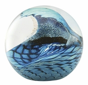 Glass Eye Art Glass Cresting Wave Environmental Series Paperweight