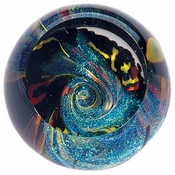 Glass Eye Art Glass Fireball Black