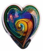 Glass Eye Art Glass Heart of Fire Golden Rainbow