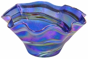 Glass Eye Art Glass Large Floppy Bowl Blue Rainbow