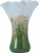 Glass Eye Art Glass Large Ruffle Vase Wildflowers
