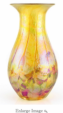 Glass Eye Art Glass Raindrop Vase Desert Gold