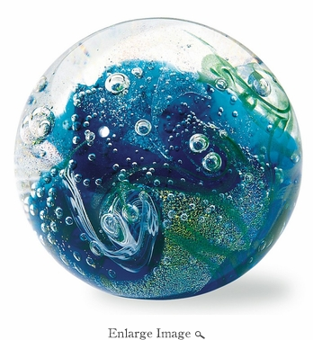 Glass Eye Art Glass Tropical Storm Environmental Series Paperweight