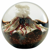 Glass Eye Art Glass Volcano Environmental Series Paperweight