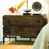 Global Views 2 Drawer Wide Chest-Dark Brushed Mango