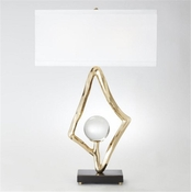 "Global Views Abstract Lamp w/6"" Crystal Sphere-Brass"
