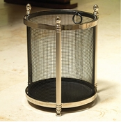 Global Views Acorn Wastebasket-Black/Nickel