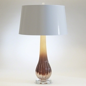 Studio-A by Global Views Amber Ribbed Glass Lamp With Silk Shade