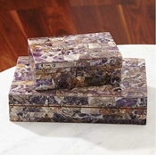 Global Views Amethyst Stone Box-Large