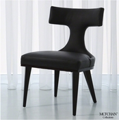 Global Views Anvil Back Dining Chair-Black Leather