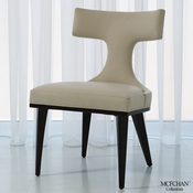 Global Views Anvil Back Dining Chair-Ivory Leather