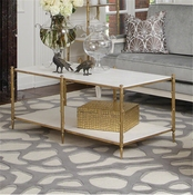 Global Views Arbor Cocktail Table-Brass & White Marble
