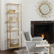 Global Views Arbor Etagere-Brass & White Marble