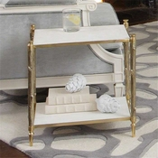 Global Views Arbor Side Table-Brass & White Marble