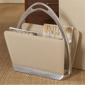 Global Views Beige Leather Stirrup Magazine Caddy