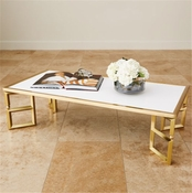 Global Views Beveled Leg Cocktail Table-Brass