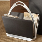 Global Views Black Leather Stirrup Magazine Caddy