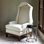 Global Views Bonnet Chair-Ivory Leather