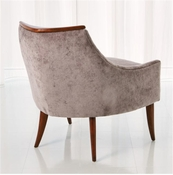Global Views Boomerang Chair-Walnut-Muslin