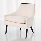 Global Views Boomerang Chair-White Leather