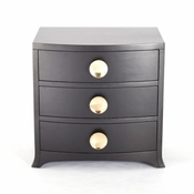 Global Views Bow Front 3 Drawer Chest-Ebony