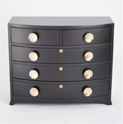 Global Views Bow Front 5 Drawer Dresser-Ebony