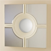 Global Views Bull's Eye Cross Mirror-White
