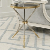 Global Views Campaign Side Table-Brass, Stainless & Black Granite