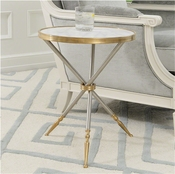 Global Views Campaign Side Table-Nickel & White Marble