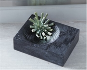 Global Views Carved Marble Plateau-Thick-Black