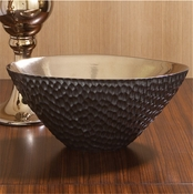 Global Views Chiseled Blonde/Bronze Oval Bowl