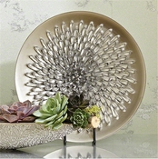 Global Views Chrysanthemum Charger-Matte Silver