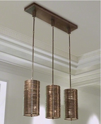 Global Views Coil 3 Light Pendant-Bronze Finish