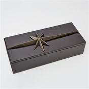 Global Views Compass Rose Box Top-Bronze/Black Marble