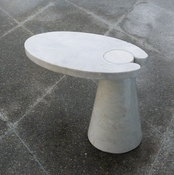 Global Views Cone Cantilever Table-White Marble