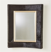 Global Views Curved Short Mirror-Black Hair-On-Hide