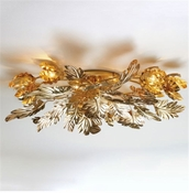 Global Views Dancing Leaves Ceiling Fixture-Brass