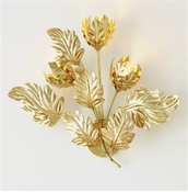 Global Views Dancing Leaves Sconce-Brass