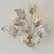 Global Views Dancing Leaves Wall Sconce-Nickel HardWired