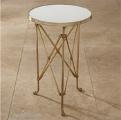 Global Views Directoire Table-Brass & White Marble